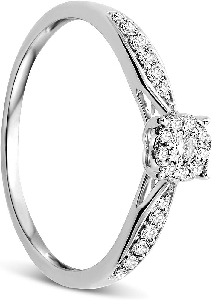 Orovi anello donna in oro bianco 9 kt / 375 (1.55 gr),con diamanti taglio brillante ct 0.20 OR81042R54