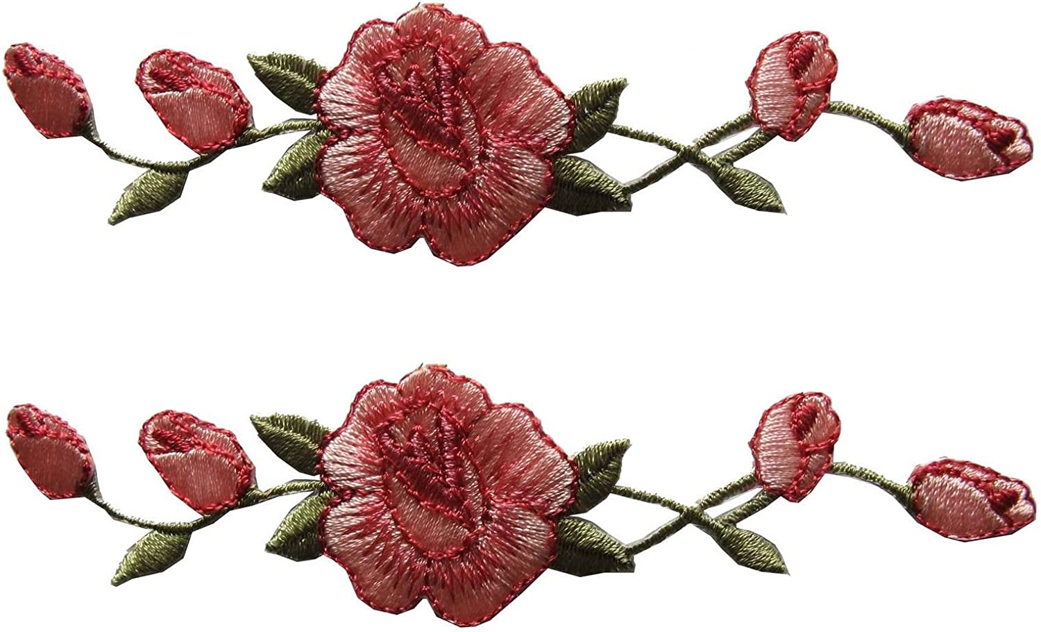 Rose Flower Iron Sew On Embroidered Applique Patch Motif *Buy 2 get 10/% off*