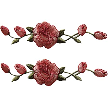 Pink Rose Flower Embroidery Applique Cloth Patch DIY Sewing /& Iron on Hat IeBdF