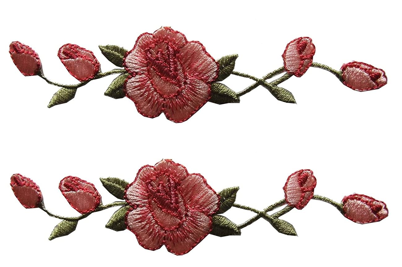 ETDesign 2 Pcs Applique Patch Rose Flower Embroidery Iron On Flower Appliques For Craft, Sewing, Clothing, Scrapbooking Decorative 1 1/8