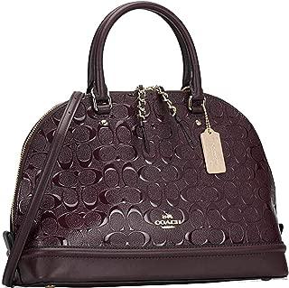 SALE! New Authentic COACH Dark Wine, Burgundy Oxblood Patent Leather Embossed Debossed Satchel Carryall Shoulder bag