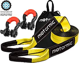 motormic Tow Strap Recovery Kit - 20 ft x 3 in (30,000 lbs.) Tow Rope + 3/4
