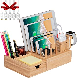 Darfoo Bamboo Charging Station Organizer for Multiple Devices with iWatch&Airpod Stand | Desktop Docking Station Organizer for iPhone, Android Phone, Storage Drawer(5 Charging Cables, No USB Charger)
