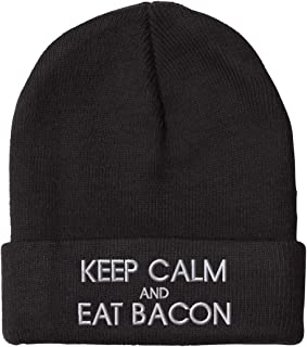308838b8699 Speedy Pros Keep Calm and Eat Bacon Embroidered Unisex Adult Acrylic Beanie