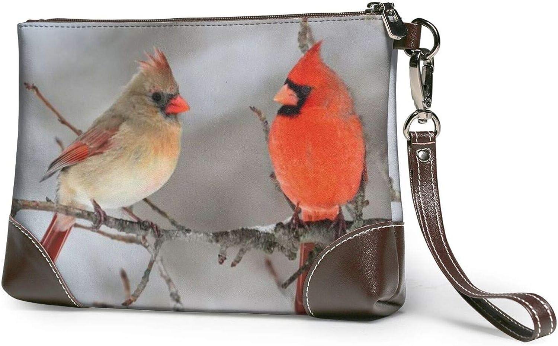 Women'S Two Birds Leather Wristlet Clutch Wallet Lightweight Zipper Coin Purse Clutch Handbag Wallet,Smartphone Wristlet Purse