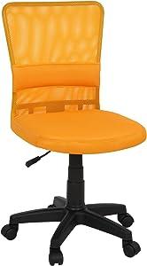 Miadomodo Sedia Poltrona Girevole da Ufficio scrivania con Schienale in Rete e Sedile Imbottito Altezza Regolabile 82 – 92 cm Colore Arancione