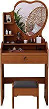 Mini Dressing Table for Rent, Small Apartment, Simple with Makeup Stool, Bedroom Furniture, Simple,Brown,B60CM