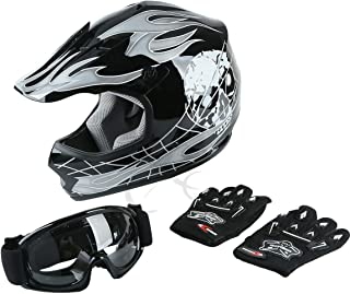 TCT-MT ATV Helmet+Goggles+Gloves DOT Youth Helmet Motocross Hot Black Skull Dirt Bike Helmet Small