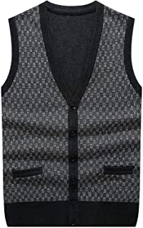 Surprise S Wool Men's Cardigan Vest Sleeveless Knitting Waistcoat Buttons Pockets