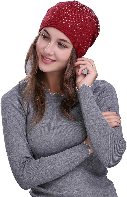 Winter Knitted Hat Women Rhinestones Stitching Skull Beanie Outwear Hat