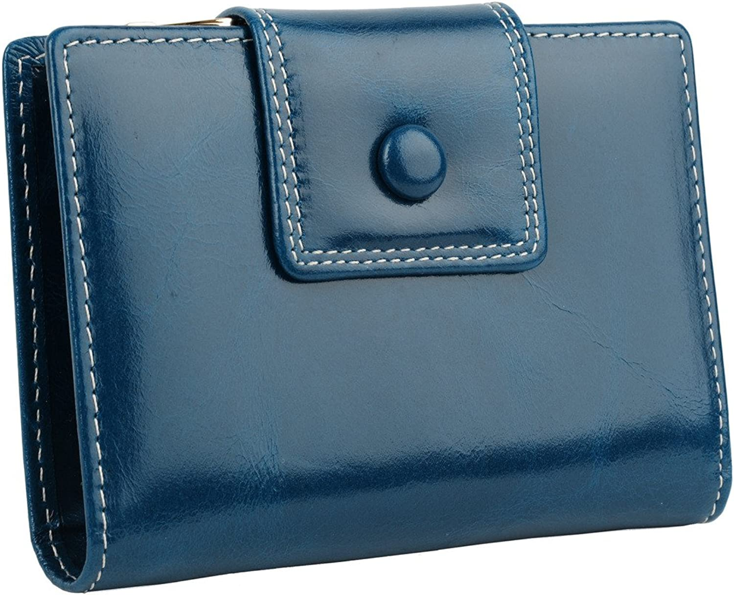 YALUXE Women's Compact Small TriFold Leather Wallet with Zipper Coin Pocket
