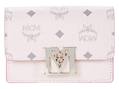 MCM Mena Visetos Leather Block Flap Wallet/Trifold Mini (Powder Pink) Handbags