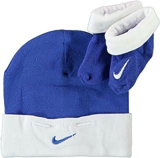 Botines y gorrito para bebés,color azul y blanco, de 0 a 6 meses