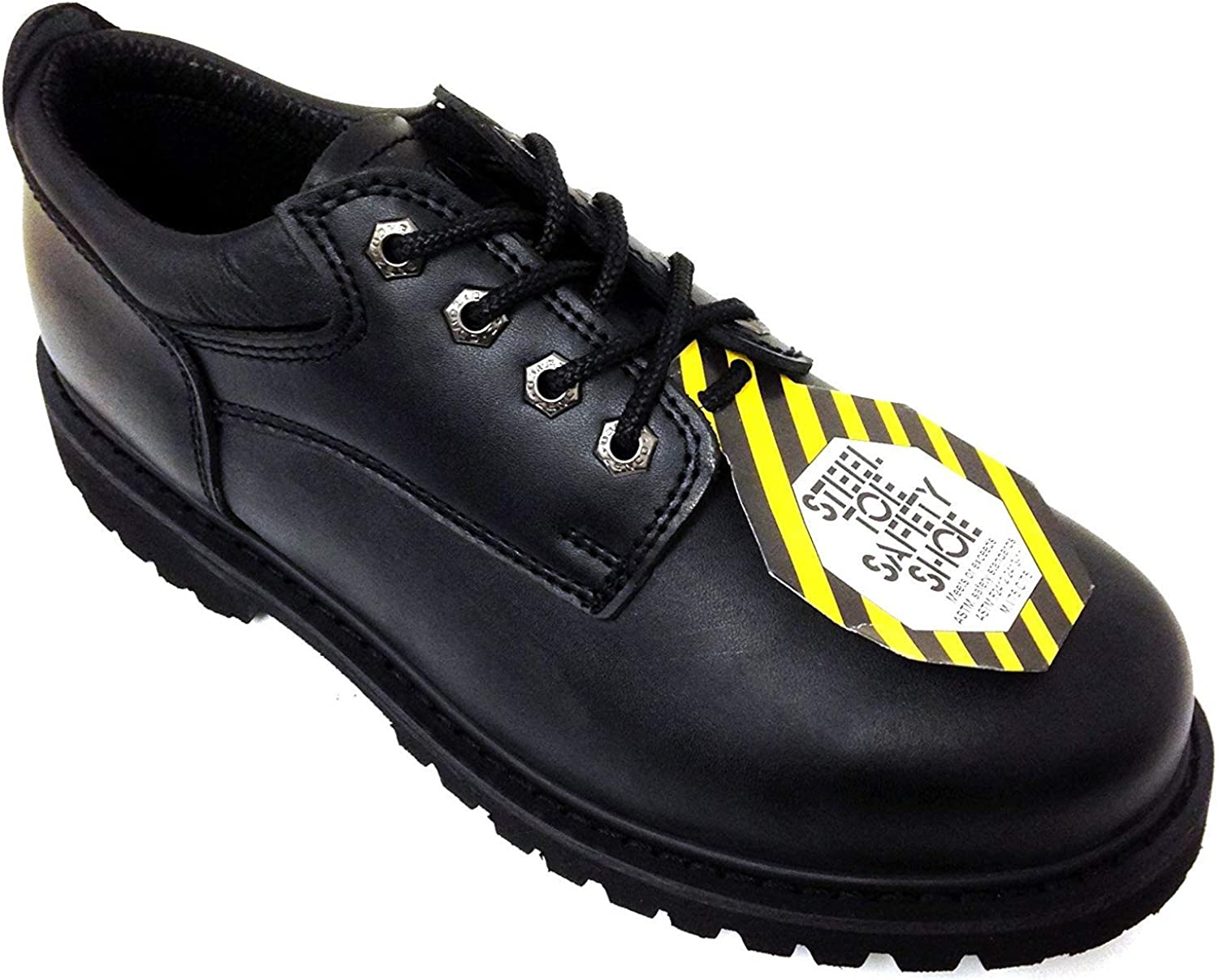 G4U Z-7426 Men's Steel Toe Work Boots Black Leather 4  Oxfords Oil Resistant shoes Width  Wide (W or 2E)