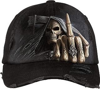 Spiral - Bone Finger - Baseball Caps Ditressed with Metal Clasp - L Black