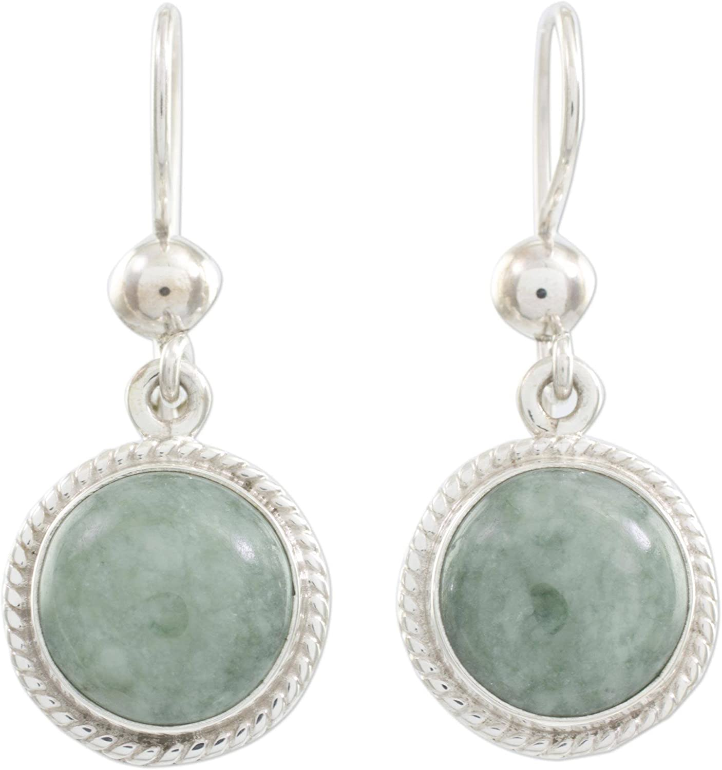 NOVICA Green Jade and Deluxe .925 Earrings Sterling quality assurance Silver Round Dangle