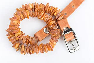 Baltic Amber Collar for Dogs and Cats. The Power from The Nature Best Natural Protection for Your Lovely Pet 100% Natural Raw Amber Collar with Adjustable Brown Leather Strap