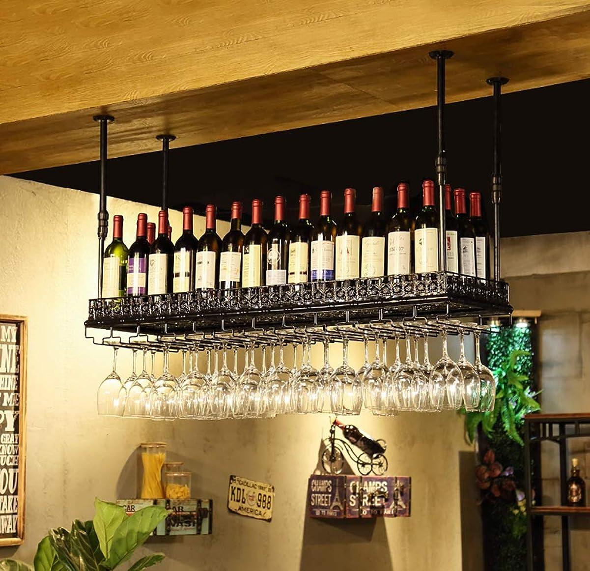 入る十分割ワインラック ヴィンテージウォールワインラック金属鉄シェルフバー天井壁掛けワインシャンパングラスワイングラスゴブレットラックワインボトルラック (色 : B, サイズ さいず : 100x35cm)