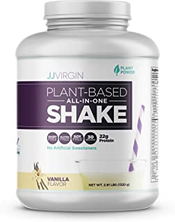 JJ Virgin Vanilla Plant-Based All-in-One Shake - Healthy Vegetarian Workout Protein Powder - Supports Gut Health & Lasting Energy with 20g of Pea, Chia & Chlorella Protein (30 Servings, 2.91 Pounds)