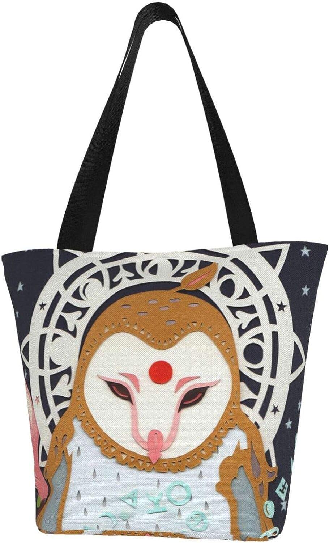 Christmas Owl Art Flowers Themed Printed Women Canvas Handbag Zipper Shoulder Bag Work Booksbag Tote Purse Leisure Hobo Bag For Shopping