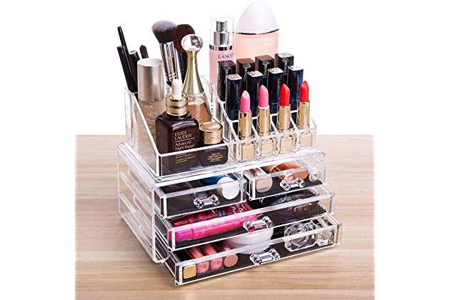 Beau Cq Acrylic 4 Drawers And 16 Grid Makeup Organizer With Cosmetic Storage  Cases, The Top Of The Almighty As A Display Make Up Brush And Lipstick  Holder,Clear ...