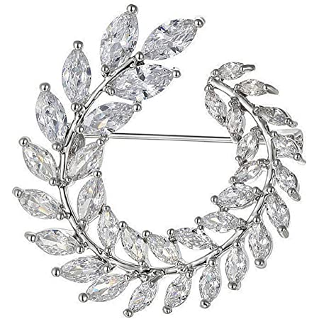 Mecool Broches de Ramo Broches y alfileres con Forma de Flor Broches de síntesis Brillante Broches de circonio cúbico