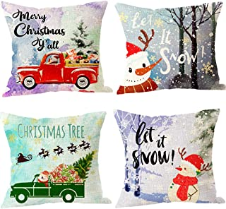 Pack of 4 Merry Christmas Tree with Car Snowman Let It Snow Moose Cotton Linen Holiday Decorative Throw Pillow Covers Cushion Case for Sofa Living Room Square 18 inches (J)
