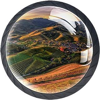 Boutons de tiroir Poignées d'armoire rondes Pull pour bureau à domicile cuisine commode armoire décorer,Terre et montagnes