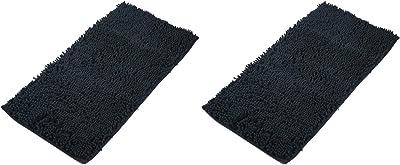 AIREE FAIREE Alfombrilla Baño anstideslizante – de felpilla y Espuma (Negro x 2)