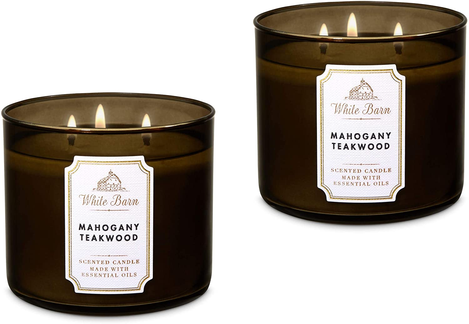 Bath Body Works White Barn Mahogany Candle Manufacturer OFFicial shop 3-Wick in Genuine Teakwood