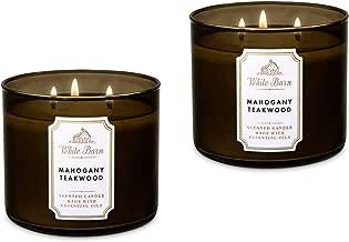Bath & Body Works White Barn 3-Wick Candle in Mahogany Teakwood (Pack of 2)