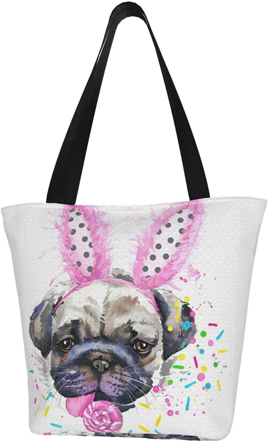 Cute Pug Dog Candy Pink Sweet Pink Bunny Ears Easter Themed Printed Women Canvas Handbag Zipper Shoulder Bag Work Booksbag Tote Purse Leisure Hobo Bag For Shopping