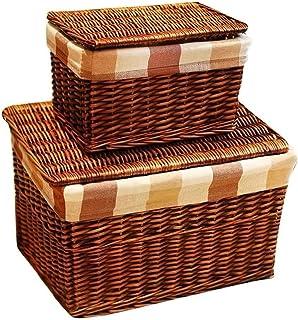 Boîte de Rangement Rotin, Bac de Rangement, Panier en osier naturel, panier de rangement en osier à la main classique avec...