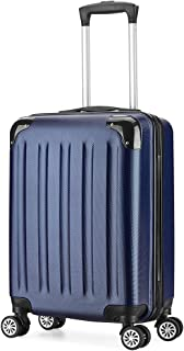 Valise cabine taille 55cm Trolley ABS ultra leger 4 roues 6 couleurs 40L(Blue)