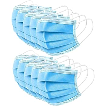 Viero Disposable Personal Face Masks- 3Ply Breathable & Comfortable Filter Safety Mask- Sanitary Surgical Mask with Earloop Design General Fit Size- 50 PCS