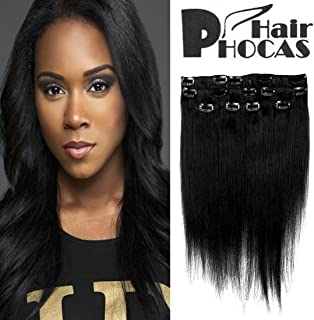 HairPhocas 14 Inch #1 Clip in Remy Human Hair Extensions Jet Black Color Short Real Straight Sexy Fashion Hair Style for African American Women 7 Piece 60g