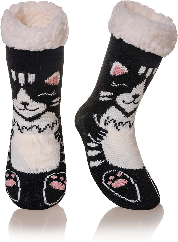 Kids Boys Girls Slipper Socks Cute Cartoon Soft Warm Thick Winter Fleece Lined Non-Skid Children Toddlers Thermal Home Socks