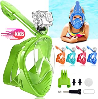 ALLYAOFA Diving Mask for Kids, Colourful Snorkel Mask Panoramic Full Face Free Breathing Design Anti-Fog Anti-Leak Detacha...