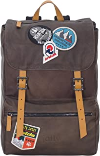 Backpack INVICTA - MY JOLLY Brown - Real Leather - Laptop Sleeve - MADE IN ITALY - 18 LT