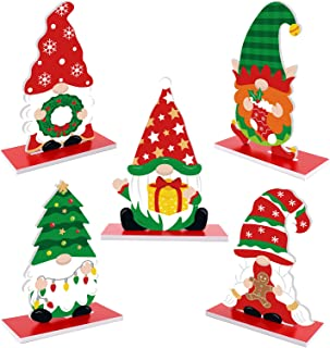 Christmas Gnome Plastic Table Signs Santa Elf Gingerbread Holiday Gnome Shaped Ornaments Winter SnowflakeThemed Table Topp...