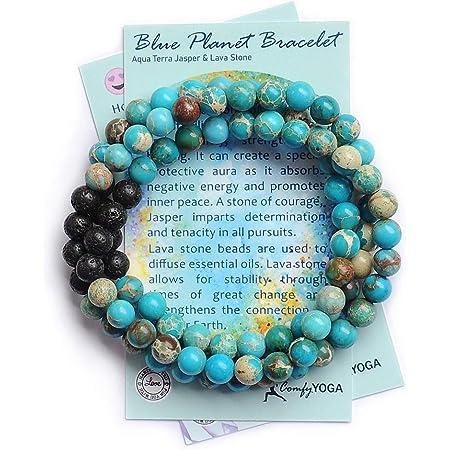 Comfy Yoga - Essential Oil Bracelets - Aromatherapy Bracelet - Lava Stone Anxiety Bracelet or Necklace - Handmade Yoga Jewelry - Oil Diffuser Bracelet - Gift for Women (Blue Planet)
