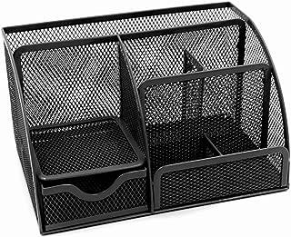 Office Desk Tidy Organiser Pen Holder Mesh Stationery Container (Black)