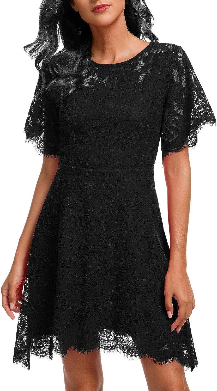 Women's Elegant Round Neck Knee Length Cocktail Party Lace A Line Dress