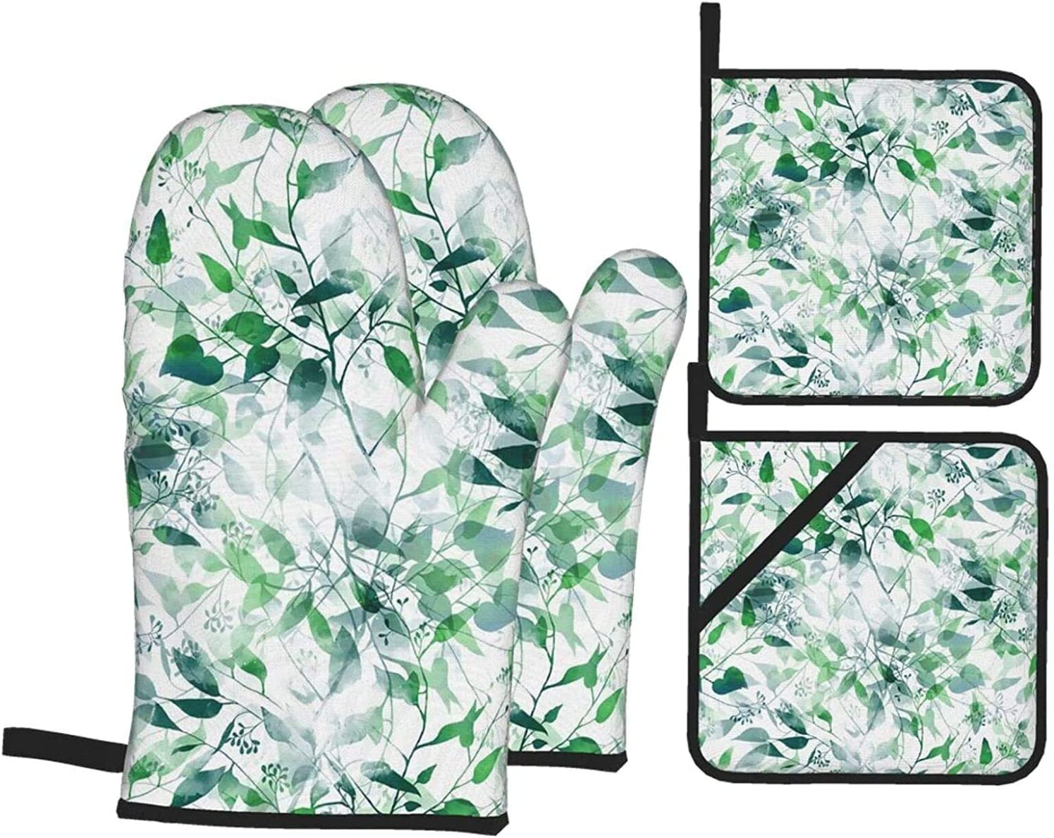 Imprints of Eucalyptus Leaves Oven Mitts Sets shopping and Pot Holders New color