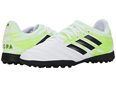 adidas Kids Copa 20.3 TF J Soccer (Little Kid/Big Kid) (White/Black/Signal Green) Kids Shoes