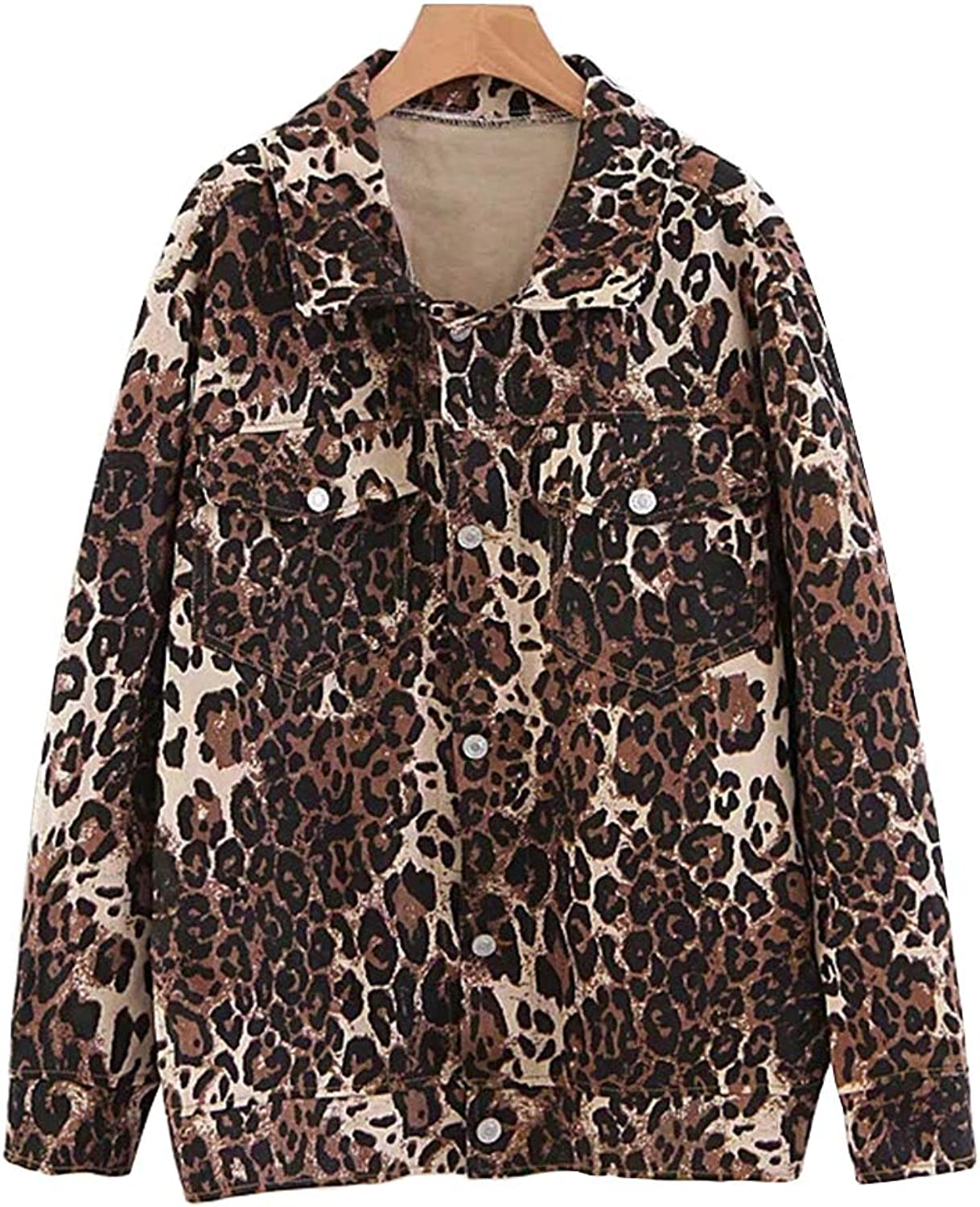 NewCime Women's Loose Long Sleeve Button up Leopard Jacket with Pocket