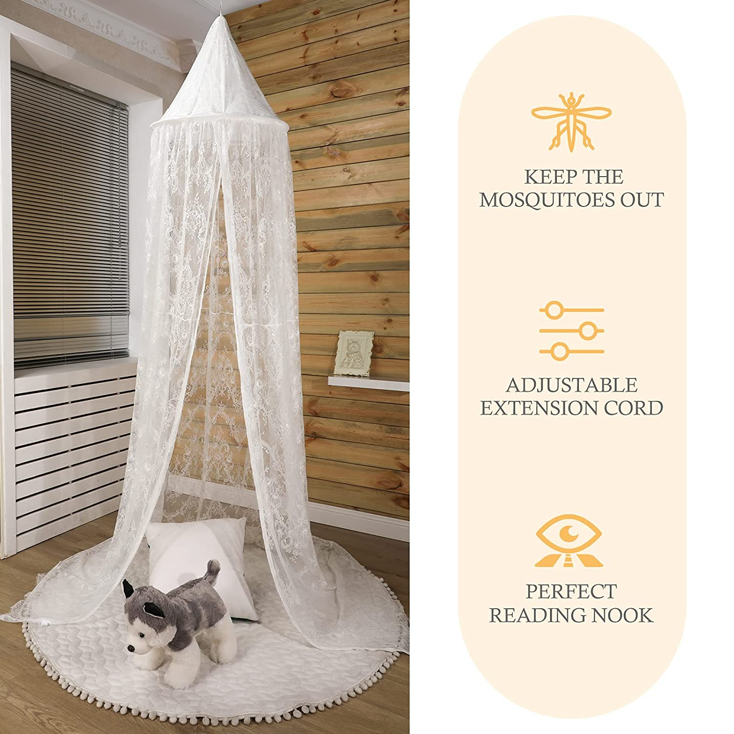 Crib Lace Net Princess Bed Canopy Breathable Fairy Tent Baby Crib Netting Canopy for Girls Children's Play Castle Design, White