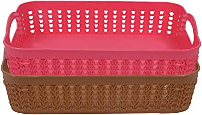 Heart Home Plastic 2 Pieces Multipurpose Storage Basket Set (Pink & Brown)- CTHH21999