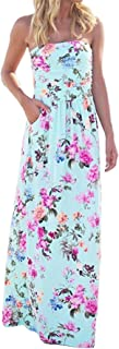 Women's Floral Print Strapless Tube Bohemian Party Beach Long Maxi Dress