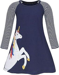 AmzBarley Unicorn Dress Girl Cartoon Print Round Neck Long Sleeve Casual Kids Nightdress